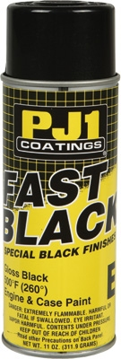 PJ1  500 DEG. FAST BLACK ENGINE & CASE PAINT GLOSS 11OZ